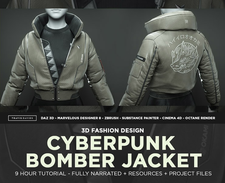 Cyberpunk Bomber Jacket – 3D Fashion Design Course | FlippedNormals